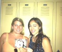 Visiting our high school locker with a photo from the last day of school in the same spot